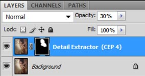 Photoshop screenshot of our Detail Extractor layer and its accompanying visibility mask.