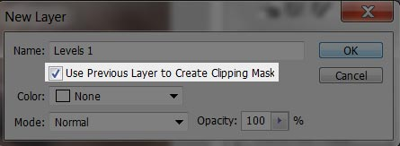 Photoshop screenshot of how to limit the Levels adjustment operation to just the Detail Extractor layer.