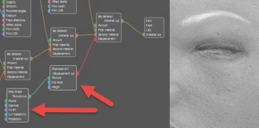 Screenshot with red arrows pointing to the greyscale image node waiting to be filled, which is attached to the displacement node.