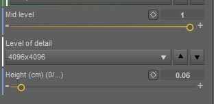 Daz Studio Octane displacement node controls. Setting Level of detail and Height.