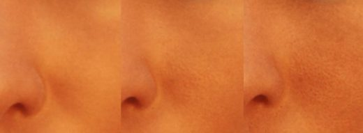 Zoomed in image of our figure's face with different displacement heights.