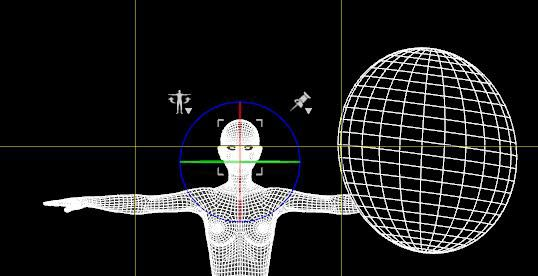 Front wire-frame view of my Daz Studio Octane scene. Emissive light sphere to the right.