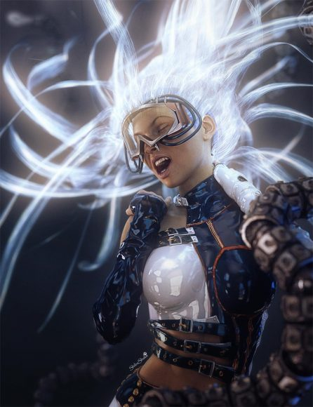 Sci-Fi girl in dynamic shouting pose with bright light emitting hair. Futuristic metal tentacles are around her.