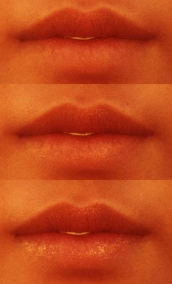 Three comparison images of a lady's lips with different roughness settings in our Specular Material.