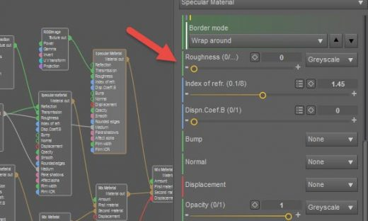 Daz Studio Octane screenshot showing the Roughness parameter of our Specular Material.