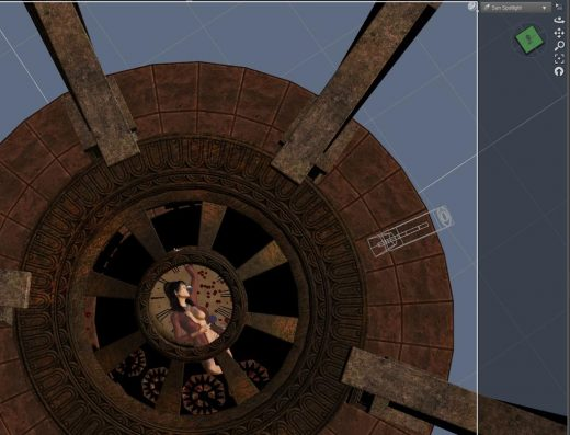 Daz Studio screenshot of the Sun-Spotlight camera view of our Lady on a Clock image.