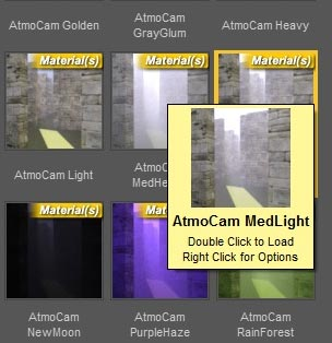 Choosing the MedLight Material for our Atmocam prop so that we may render our Iray sunlight as a volumetric light.