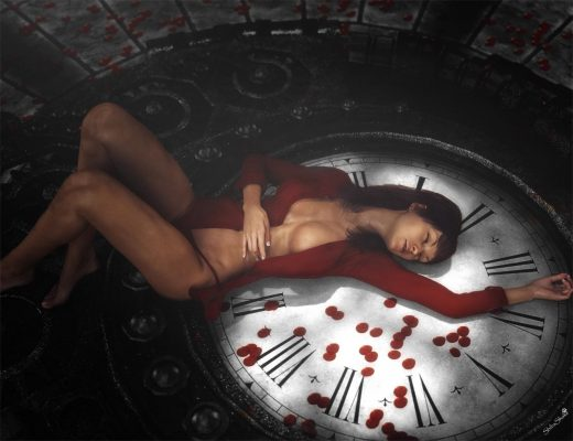 Woman in red shirt lying or sleeping on a very large clock with light and shadow patterns from the Iray Sun. Red petals are strewn about her.