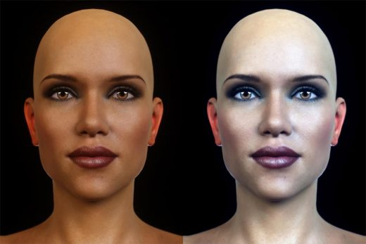 Two portrait shots. Left - Octane rendered image without any postwork; Right - Finished image after postwork in Photoshop.