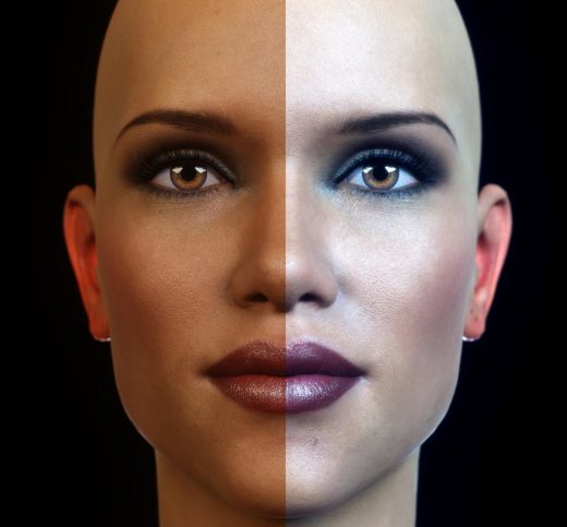 Comparison of our postworked image with the original render. The left half of our woman's face shows the original render and the right half shows our postworked version.