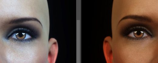 Left - image after applying auto tone and auto color. Right - original image.