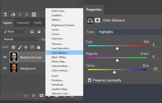 Screenshot showing how to create a new Color Balance adjustment layer, and how to adjust settings for that layer.