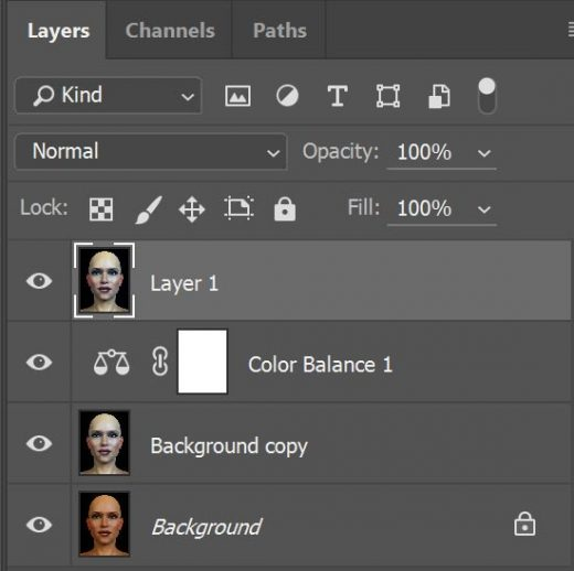 Screenshot of our Photoshop layer stack after creating a new merged layer.