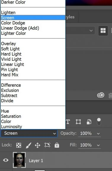 Screenshot showing how to set our layer Blending Mode to Screen.