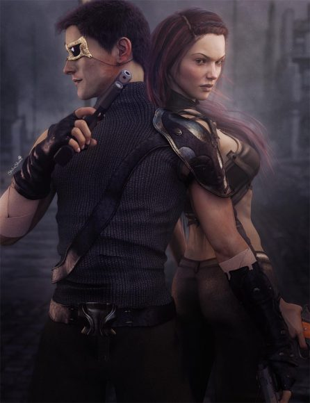 Post Apocalyptic man and woman with guns standing back to back with ruins in the background. Sci-Fi futuristic art.