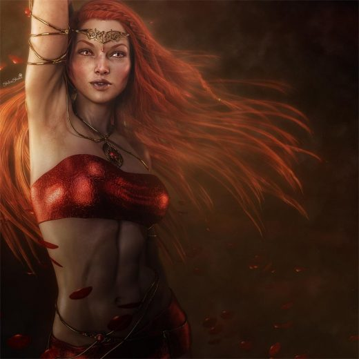 Fantasy woman with flowing red hair, golden circlet, and golden cords. Red petals blowing around her.