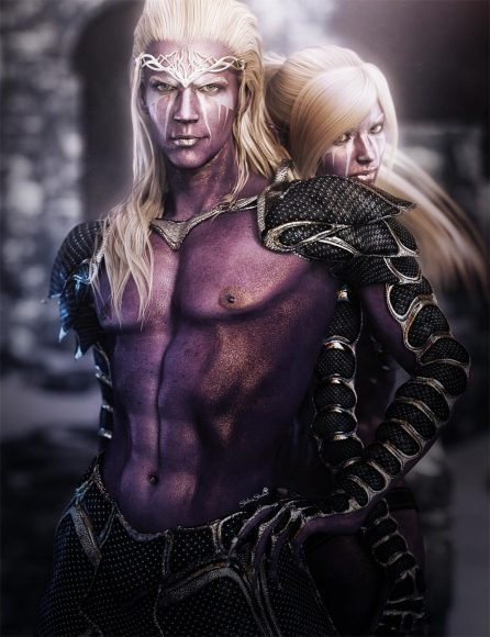 Dark elf couple with white hair and white face markings. The elf man is in front and the elf girl is standing slightly behind him.