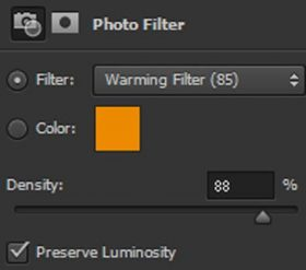 Screenshot of Photoshop warming layer filter interface.