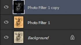 Screenshot of our Photoshop layer stack after desaturation and inversion.