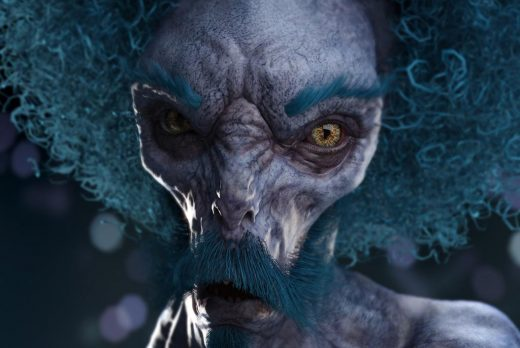 Portrait of a purple mean-looking alien with blue mustache, eyebrows, and afro hair.
