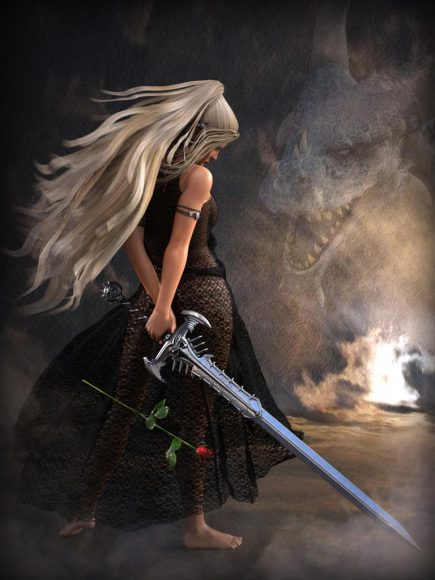 Strength combined with beauty and vulnerability. Sword vs rose, dress vs sword, dragon vs. girl