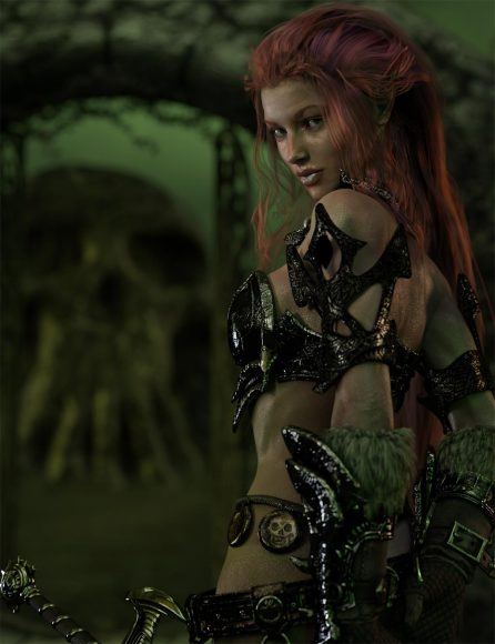 Picture of redhead warrior girl with armor and sword with all light layers combined. Fantasy Art.