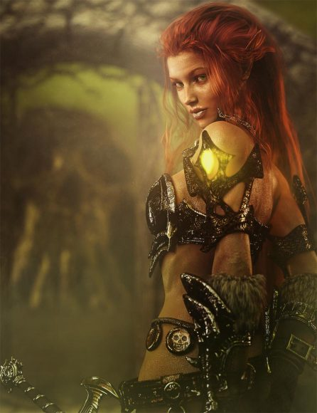 Fantasy red head woman warrior after we add sharpening, softening, mist, glow, and other Photoshop adjustments and effects.