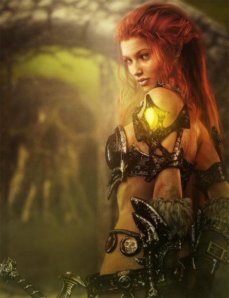 Red head warrior woman with armor and sword looking over her shoulder. Gate and skull mountain in the backdrop.