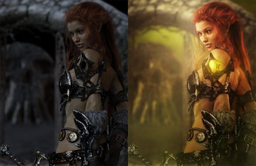 Pre and post-work images to a red head warrior woman with armor and sword. Fantasy Art.