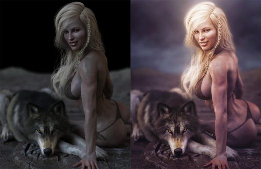 Pre and post-work images of a white haired girl sitting next to her yellow eyed wolf, who is lying down. Fantasy Art.