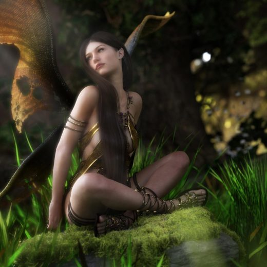 Beautiful fairy girl with wings sitting on a mossy rock.