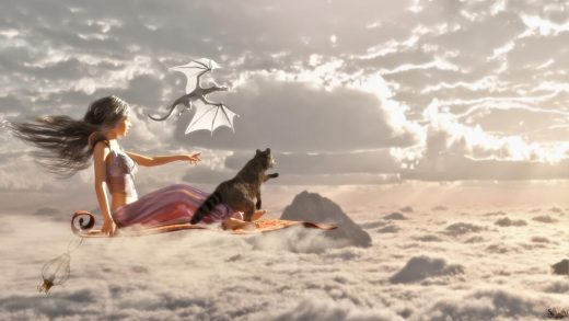 Girl flying above the clouds on a flying carpet with a raccoon and dragon by her side.