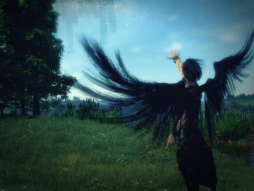 Male angel with black wings standing in a green field with blue sky. He is casting a spell to reveal a city on the far side of the sky.