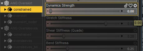 Daz Studio screenshot of the Surfaces >Editor pane. Here we set the constrained surface in Angeloi over-skirt to 0.