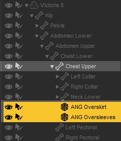 Screenshot of Daz Studio Scene tab with both Angeloi Overskirt and Angeloi Oversleeves parented to Chest Upper of our Genesis 8 figure.