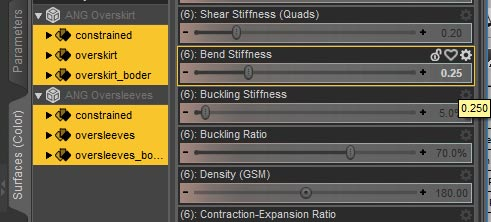 Daz Studio screenshot of the Surfaces >Editor pane. Here we select all surfaces and set their Bend Stiffness parameter to 0.25.