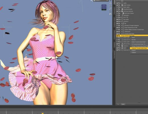 Daz Studio screenshot of how to unparent a dForce dress from a Genesis 8 figure.