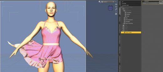Daz Studio screenshot of our new scene and with the dialed in saved dForce morph.