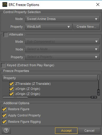 Daz Studio screenshot of the ERC Freeze Options interface.