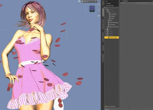Daz Studio screenshot of a newly loaded pink dress with our dForce wind morph attached to it in the Parameters tab.