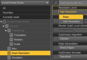 Daz Studio screenshot of how to set the mesh resolution level of our dForce pink dress to Base.