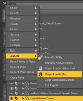Daz Studio screenshot of how to open up Morph Loader Pro for our dForce pink dress.