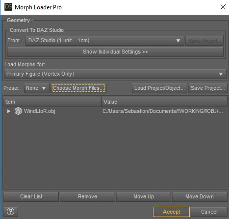 Daz Studio screenshot of the Morph Loader Pro interface.