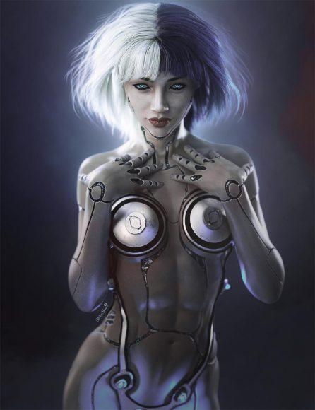 Resulting cyborg girl fantasy image when blending mode is set to Lighten.