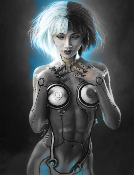 Final cyborg girl fantasy image when blending mode is set to Lighter Color.