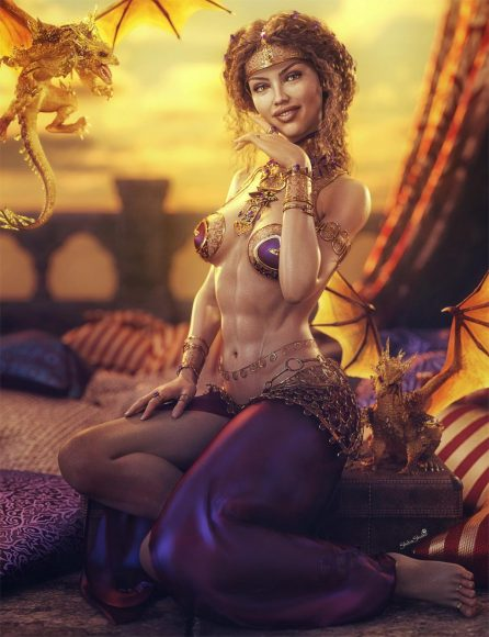 Harem girl sitting next to two golden dragons with pillows around. Arabian themed fantasy woman 3d-art. Daz Studio Iray image.