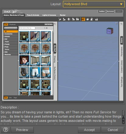 Screenshot of the pop-up menu where we get to pick the Daz Studio interface layout that we want from a drop-down menu.