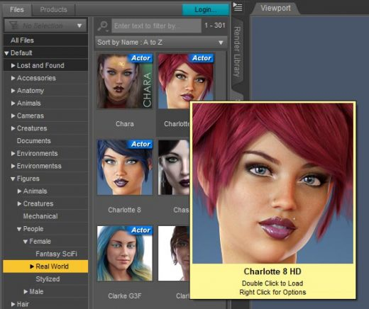 Daz Studio screenshot of the smart content panel. From this panel, I choose to add a realistic female 3d-model into my Daz Studio scene.