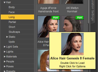 Daz Studio screenshot of the smart content panel. From this panel, I choose to add a some hair onto my figure by selecting Hair > Long, and then double clicking on Alice Hair.