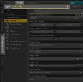 Daz Studio screenshot of the Render Settings tab. To set our renderer to Iray, we go to the Editor tab and select Iray from the drop-down menu next to Engine.